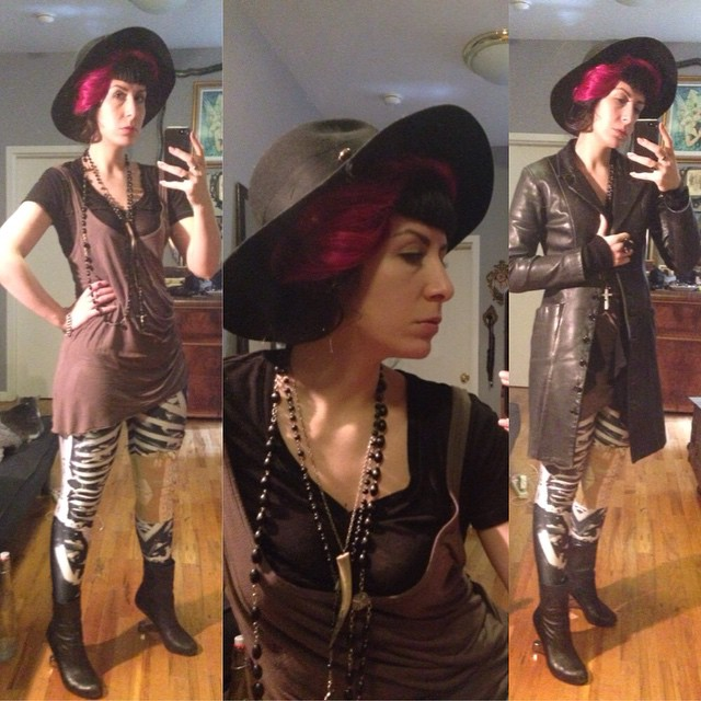 Heading out for some daytime fun. #blackhat, #helmutlang top, #blackmilk leggings, #vintagebrace, #rickowens sweater, #bestyjohnson #leatherjacket, #unitednude heels. #darkstyle #darkfashion #dark #style #fashion #nycfashion #nycstyle