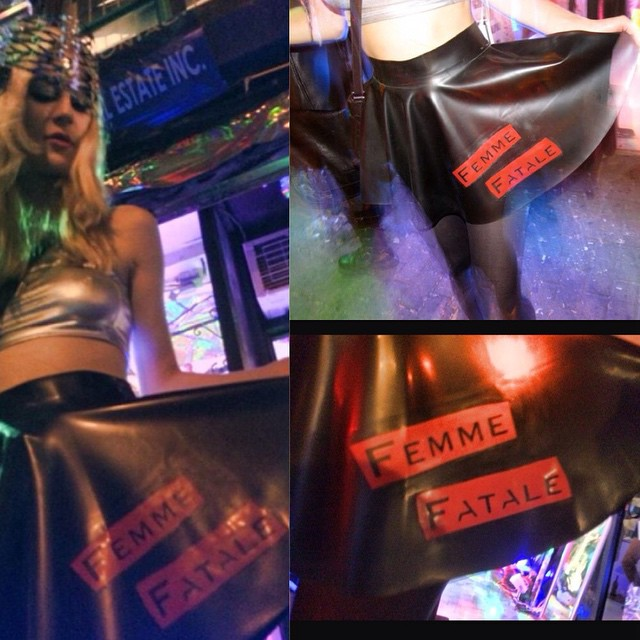 Our one off #babyloveslatex #FemmeFatale Circle Skirt Made for the @VectorGallery for the Time Doesn't Move - 75 Years of Nico exhibition being worn by @ororacle; is now up on #ReneeMasoomian.com  #latex #latexfashion #latexfetish #latexskirt #dark #darkstyle #darkfashion #fashion #style