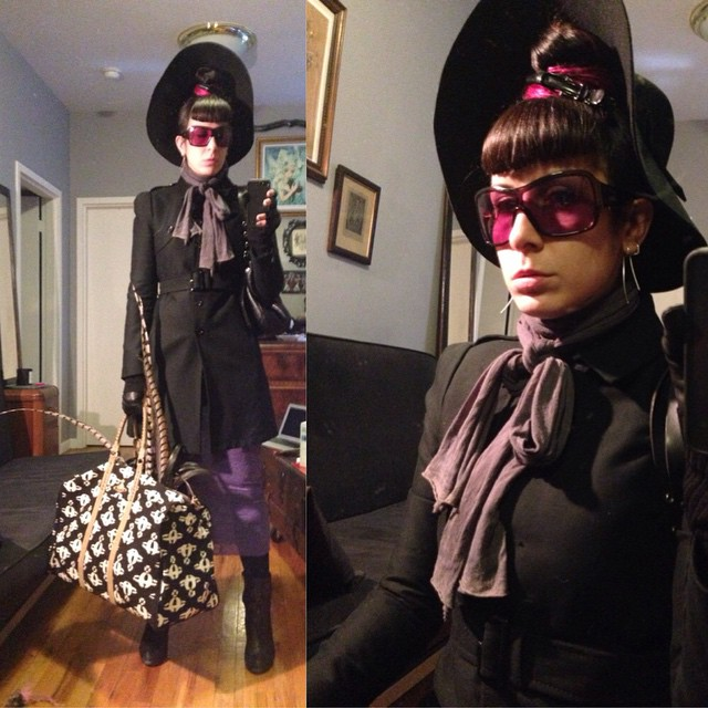 So mush to do today before the festivities can begin. Still haven't figured out what I'm wearing to Dorian gray tonight but I have to much to do before that so I'll figure it out later. #blackhat, #Alexandermcqueen sunglasses and trench, #viviennewestwood tote and purse, #ReneeMasoomian dress, and #unitednude heels. #dark #darkstyle #darkfashion #nycfashion #nycstyle #fashion #style