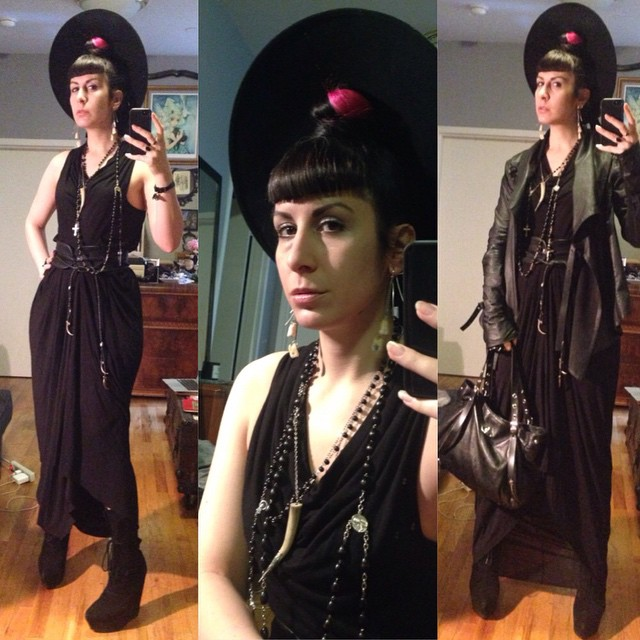 So I'm in love with this dress; even though I wore it last night it's getting worn again today. #vintagehat, #rickowens dress, #jefferycampbell boots, #widow #leatherjacket, #skingraft belt, and #viviennewestwood purse. #darkstyle #darkfashion #nycfashion #fashion #dark #style #allblack #idontcarethatimwearinglastnightsdress