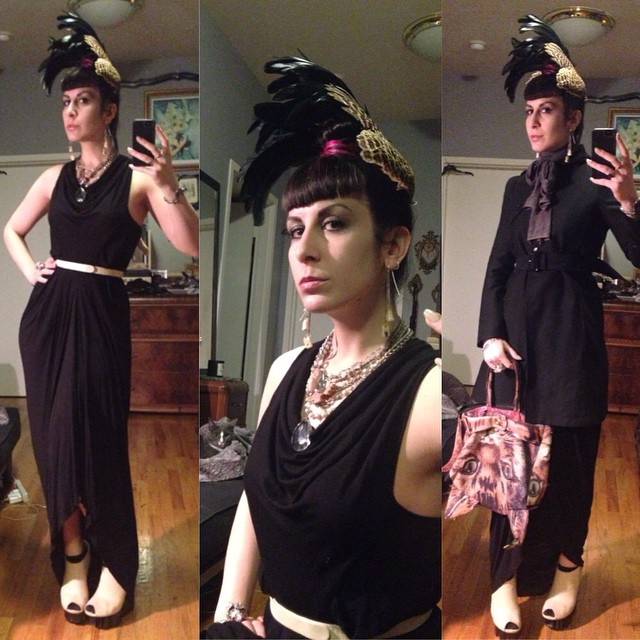 I look all classy then I kill it with my #catbag. Picked up this new #rickowens dress at #beaconscloset today. @purevile necklace, #Alexandermcqueen belt, ring, and trench, #unitednude wedges. #darkstyle #darkfashion #dark #style #fashion #nycfashion #nycnightlife #allblack #pheasantwings #taxidermyfashion