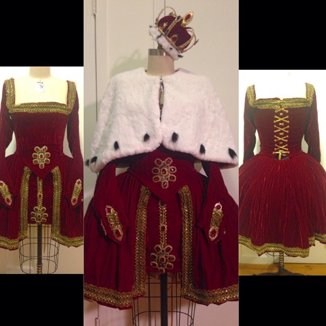 The finished #custom #halloweencostume that we've been working on in the #reneemasoomian studio. It is a (much shorter) version of #anneboleyn's coronation dress. #royal #costume #halloween #customcostume #historicalcostume #historicalfashion #ermine #velvet #crown