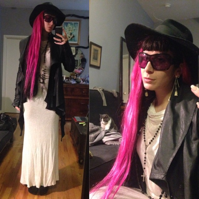 Running off to the garment district to pick up some supplies. #vintagehat, #reneemasoomian dress, #rickowens sweater, #widow #leatherjacket, #Alexandermcqueen sunglasses, and #jefferycampbell boots. #darkstyle #darkfashion #nycfashion #dark #fashion #style #pinkandblackhair #pinkhair #realhair #noitsnotweave