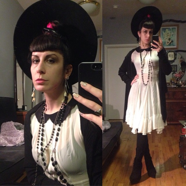 Heading out to meet up with some friends from out of town. #vintagehat, #thirftstore dress, #rickowens sweater, #jefferycampbell boots. #blackandwhite #dark #darkstyle #darkfashion #fashion #style #nycfashion