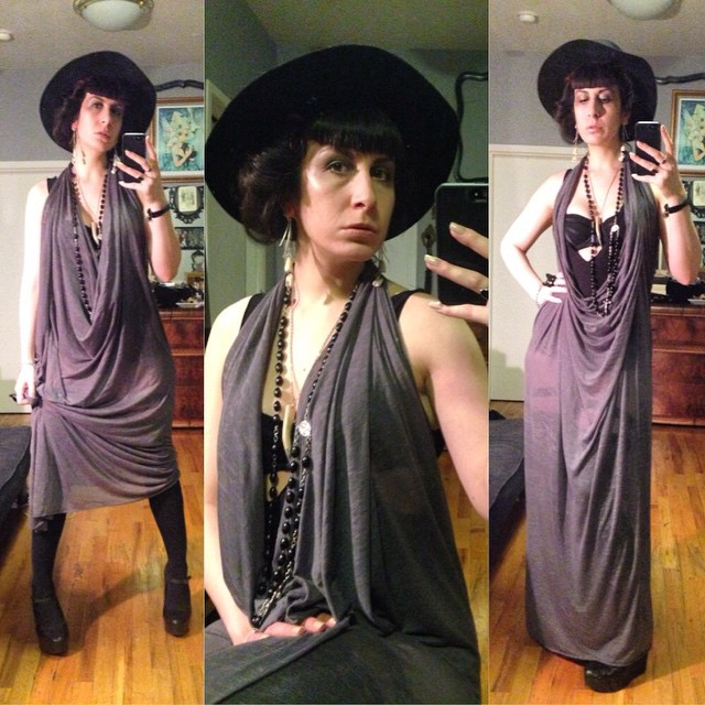 Heading out for a bit to see some friends. #vintagehat, #reneemasoomian dress, #laperla bra, rain shoes. #dark #darkstyle #darkfashion #fashion #style #nycnightlife