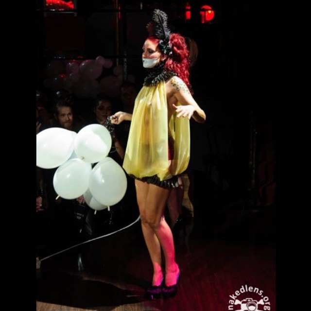 Here is another one from our 2010 #circus fashion performance during the #Dallasfetishball. @sharontk was our #balloon girl for the show. #babyloveslatex #latex #latexfashion #latexfetish #latexdress