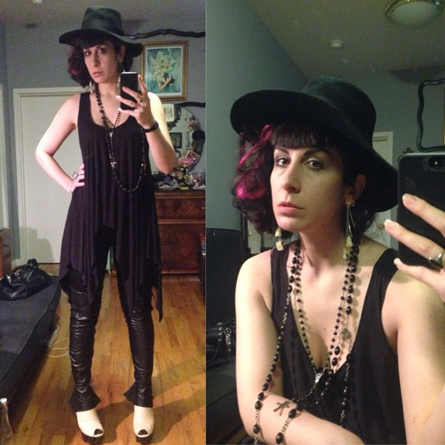 Heading out to a Helmet Lang #fashion event tonight. Dressed in #reneemasoomian top, #thirftstore #leatherleggings and hat, #unitednude heels. #dark #darkfashion #darkstyle #style #nycfashion #allblack