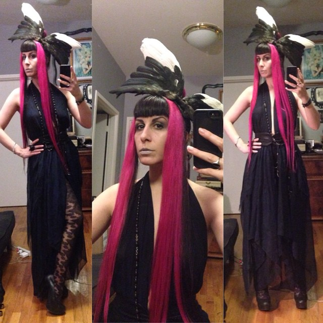 Headed out in a freshly made #birdwing #headpiece. #reneemasoomian dress and hat, #natachamarro heels. #designer #darkstyle #darkfashion #dark #fashion #style #nycfashion #nycnightlife #deadbird #deadbirdhat #realhair #pinkandblackhair