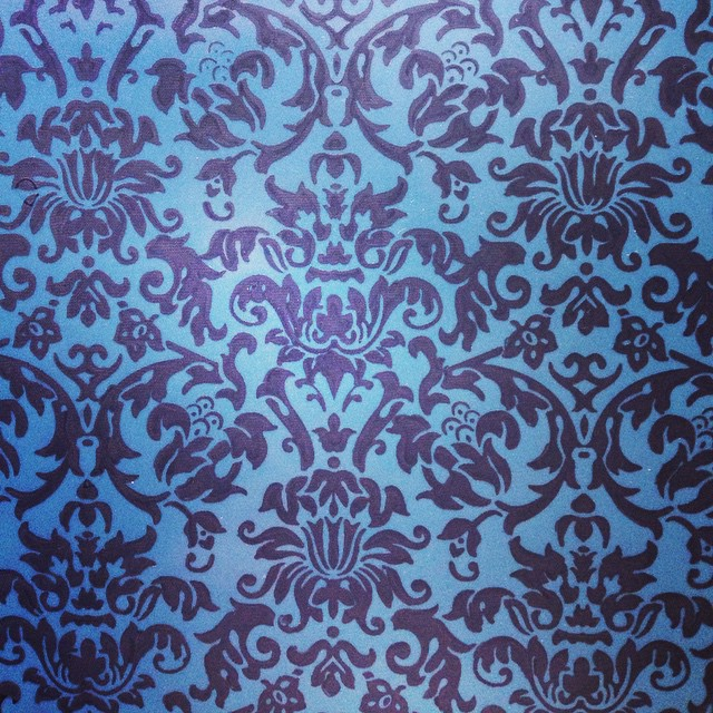 We just printed a new color way for our #babyloveslatex custom #damask #printedlatex; metallic blue and black. #latex #latexfetish #latexfashion