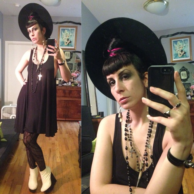 Just a quick shot before heading out to see @johanna_constantine perform tonight at the #futurefeminism benefit concert. #vintagehat, #reneemasoomian dress, #laperla stockings, #unitednude one off pony hair boots. #dark #darkstyle #darkfashion #fashion #style #nycnightlife #nycfashion