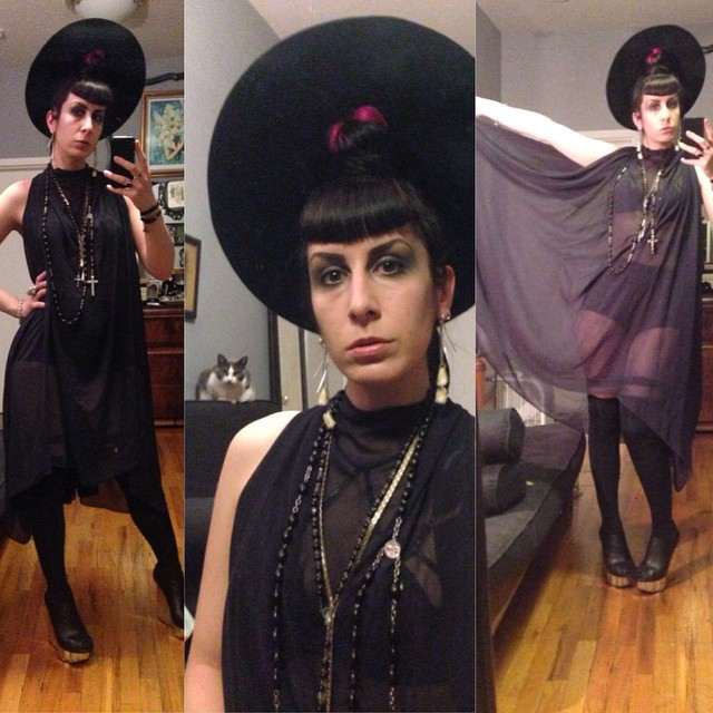 Headed out tonight to luck off fashion week. #vintagehat, #reneemasoomian dress, #agentprovocateur bra, #unitednude wedges. #dark #darkstyle #darkfashion #fashion #style #nycfashion #nycnightlife