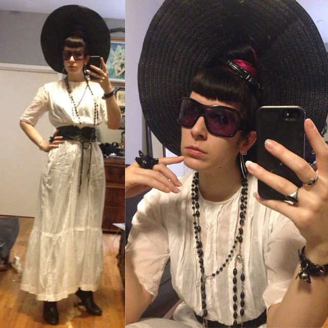 Running errands in my #antique #Edwardian #lawndress, #sunhat, #skingraft belt, #alexandermcqueen bracelet, and #unitednude heels. #blackandwhite #nycfashion #fashion #style #darkstyle #darkfashion #dark #vintage #antiquefashion