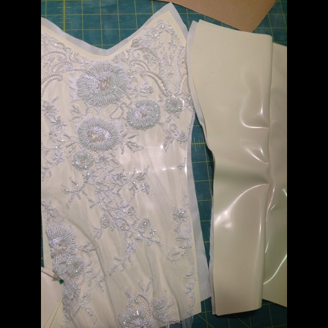 Back in the studio working on a bridal piece. #latex, #lace, and #silk #corset. #latexfashion