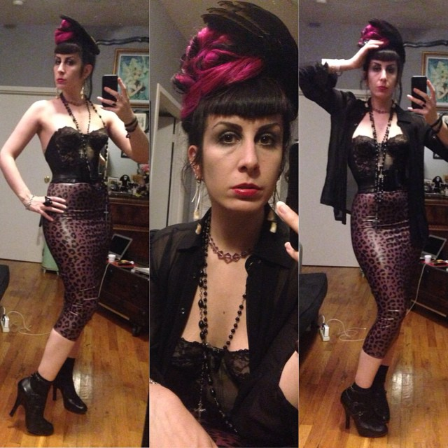 Heading out early tonight so I can come back and work sone more. #reneemasoomian #birdwing #headpiece, #clubmonaco #sheer top, #vintage #longlinebra #babyloveslatex belt and #leopardprint #printedlatex skirt, #viviennewestwood heels. #darkfashion #darkstyle #pinkandblackhair #nycfashion #nycnightlife