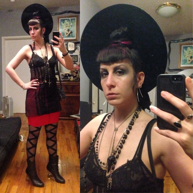 Heading out to celebrate @severelymame's birthday, technically dressed only in undergarments. #vintagehat, #laperla nightie and skirt, #wolford tights, #bloodmilk necklaces, and #unitednude heels. #blackandred #dark #darkstyle #darkfashion #fashion #style