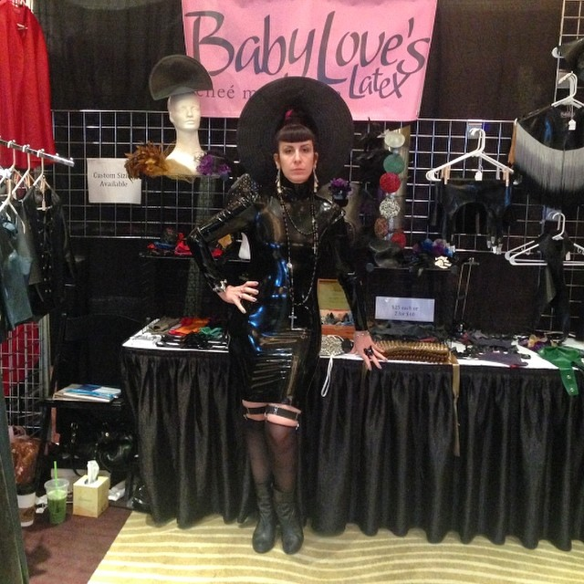 Just waiting for the doors to open for vending at #fetishcon. Don't forget to sip by the #babyloveslatex booth and see all of our new stuff! #latex #latexfashion