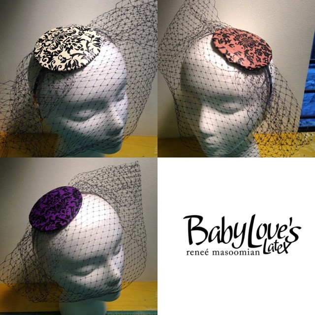 Working in the studio this summer Sunday. Finished up some more #babyloveslatex #damask #printedlatex #fascinators to bring down to #fetishcon. #latex #latexfashion #latexhat #latexdesigner #latexfetish #customlatex #fashiondesigner