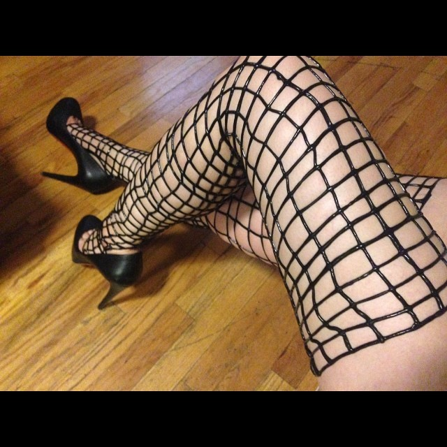 Just made a bunch of our #babyloveslatex #netlatex #stockings to bring down to #fetishcon for vending. I paired them with #christianlouboutin heels for a quick photo. #latexfetish #latexfashion #latexdesigner #latex #latexstockings #fishnet