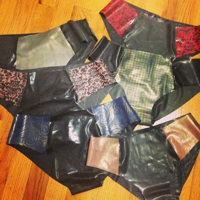 So many panties! New #babyloveslatex #panty design. Available soon on #reneemasoomian.com. #latexlingerie #latexfashion #latexfetish #latex #printedlatex #fetishfashion #fashiondesigner #lingerie #handmade