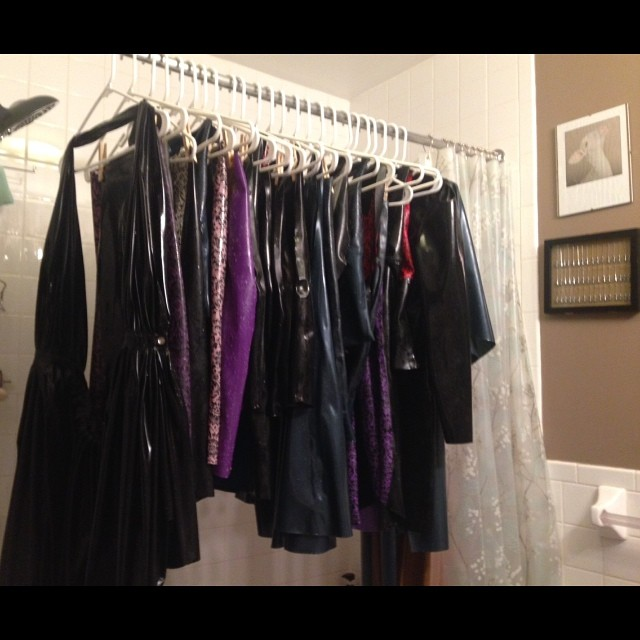 Thanks to @vivishinelatex, I just finished up my #latex laundry for the night. After 24 pieces hung and drying one might think I do this for a living. #babyloveslatex #latexdesigner #latexfashion #runningoutofroom