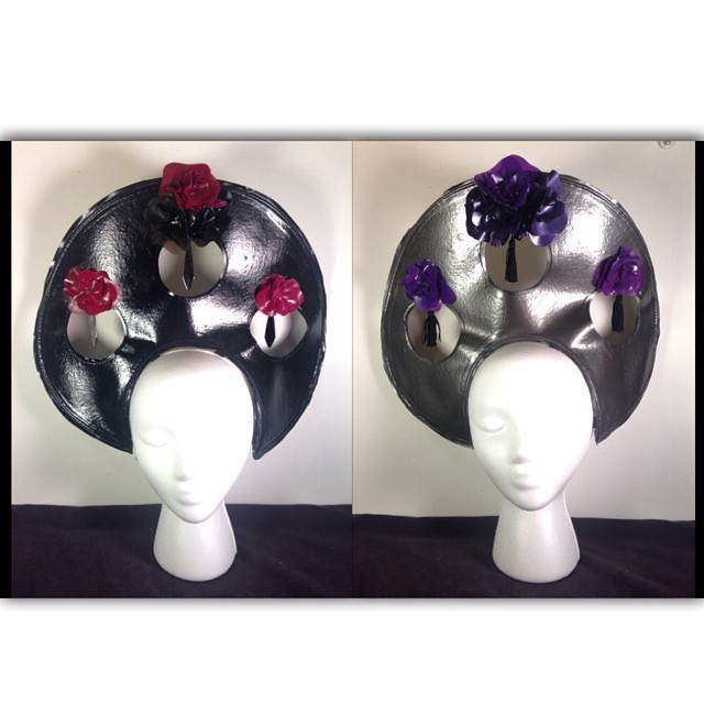 I think that this new #babyloveslatex #headpiece design will have a limited run. I made these yesterday for part of my #fashioshow at #fetishcon in August. #latexhat #latexfashion #latex #latexfetish #fetishfashion #darkstyle #darkfashion