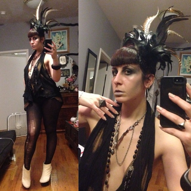 Trying to keep cool tonight still heading out though. #reneemasoomian #feather hat and top, #jungletribe necklace, #unitednude wedges. #darkstyle #darkfashion #nycnightlife #nycfashion #nycstyle