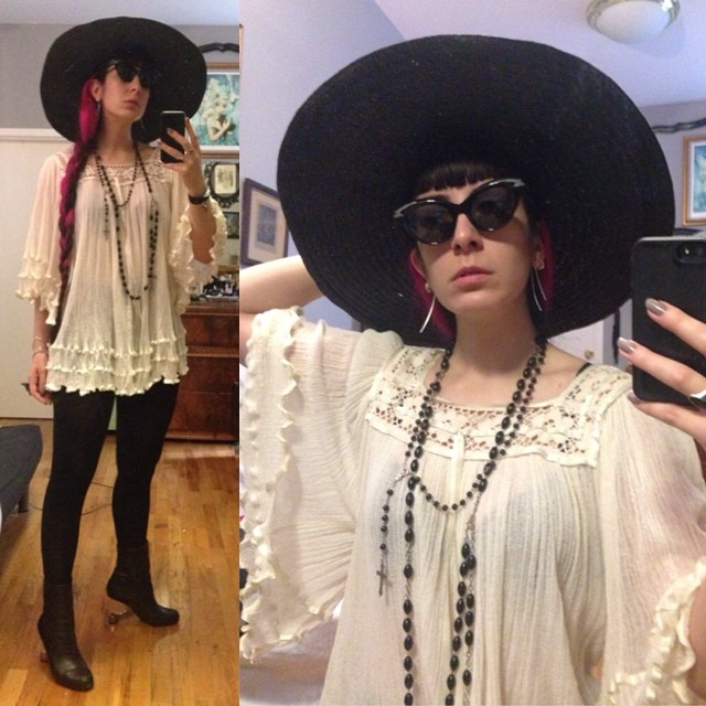 Off to go supply shopping with my hair down. #sunhat, #unitednude heels #pinkandblackhair #nycsummer #nycstyle #summerfashion