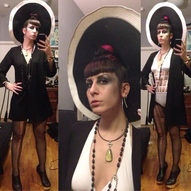 Heading out thought swimwear was appropriate. #sunhat, #laperla cuffs and #jeanpaulgaultier #swimsuit, #unitednude wedges. #darkstyle #darkfashion #swimwear #nycnightlife