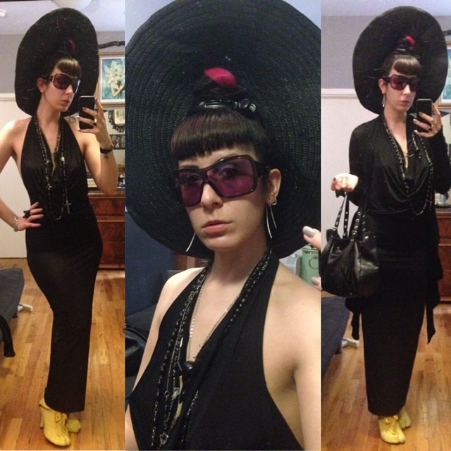 Running out of the house for a meeting. #sunhat, #reneemasoomian dress, #rickowens sweater, #viviennewestwood purse, @bloodmilk necklace, #irregularchoice shoes, and #alexandermcqueen sunglasses. #darkstyle #darkfashion #nycfashion #nycstyle #summerfashion
