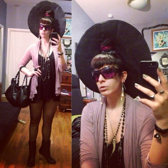 Running out the door to go have dinner with old friends. #sunhat, #alexandermcqueen sunglasses and bracelet , #viviennewestwood sweater and purse, #wolford stockings, #unitednude heels. #darkfashion #darkstyle #nycfashion #nycstyle