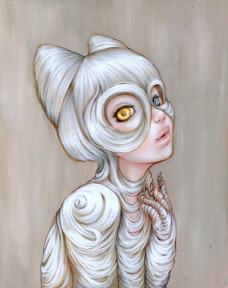 "camilladerricoart :     Camilla d'Errico ""Hairball"" oil on wood panel"
