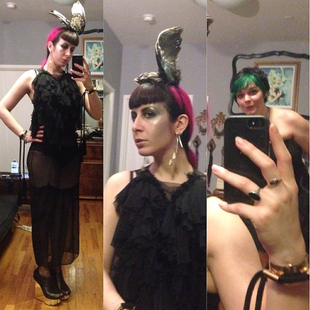 Off to hang out with old friends. With @wedgehut creeping in the background. #reneemasoomian #birdwing hat and dress, #kikidemontparnasse undergarments, #laperla cuffs, #unitednude heels.