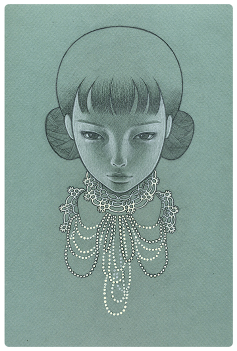 yellowplushpapers :            Audrey Kawasaki  detail,  Blue Lacey  graphite on paper Jonathan Levine Gallery, New York 2009