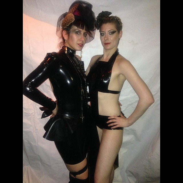 The only photo that I have from tonight's SMack!  With @rebeccasuziehart in #babyloveslatex. #latex #latexfashion #latexdesigner #latexdress #nycnightlife #nycfashion