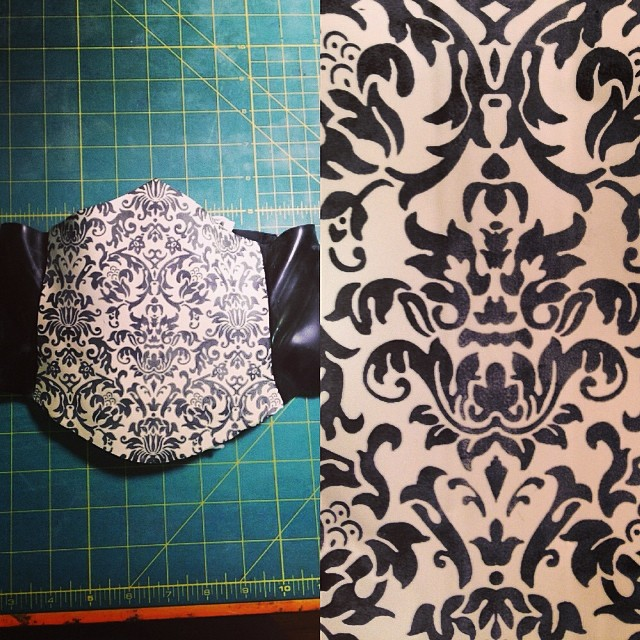 Another revamped old design that we have been working on in the studio. #babyloveslatex short #cincher with our custom #damask printed #latex. We are bringing these newly instock pieces to LA for vending in two weeks. #latexfashion #latexfetish #fashionlatex #nycfashiondesigner #damaskprint #corset