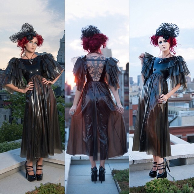 #babyloveslatex Peignoir Gown and Ruffle Shoulders now available on #reneemasoomian.com. @sharontk shot by @kencredible. #darkfashion #darkstyle #latexdress #latexmodel #latex #latexfashion #nycfashiondesigner #nycfashion #fashiondesigner #fashionphotography
