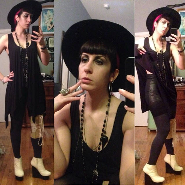 Sometimes I even don't even understand how my brain works. How is leather hot pants and pony fur boots casual dinner with friends? #reneemasoomian #leatherhotpants and top, #vintagehat, #bloodmilk necklace, #unitednude wedges, and #alexandermcqueen #skullring and bracelet. #darkfashion #darkstyle #nycstyle #nycfashiondesigner #nycfashion