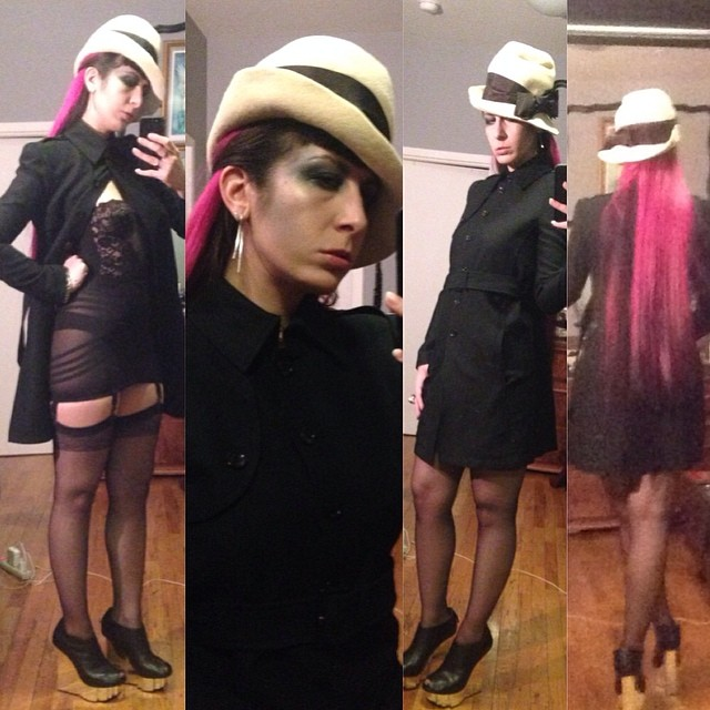 I'm going flasher chic tonight; mainly because I picked up this #alexandermcqueen #trenchcoat today. The rest: #vintagehat, #vintagegirdle, #vintage #longlinebra, #stockings, and #unitednude wedges. #realhair #pinkandblackhair #pinkhair #longhair #darkstyle #darkfashion #nycfashion #nycstyle #nycnightlife
