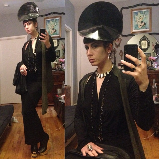 Heading out for the night. Last stop @doriangraywednesdays! #reneemasoomian #cowldress, #leather purse and #leathersweater, with #babyloveslatex #headpiece hat, #alexandermcqueen #skullring and @un_shoes #unitednude wedges. #darkstyle #darkfashion #fashiondesigner #fashion #nycstyle #nycdesigner #nycnightlife