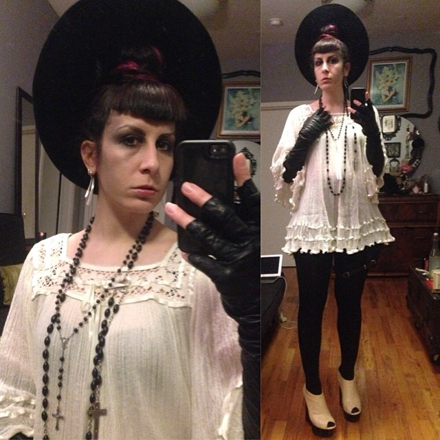 Heading out for some Sunday night cocktails after working all day. #vintagehat, #mexicandress, #vintagegloves, #unitednude wedges. #darkstyle #darkfashion #nycfashion #nycnightlife