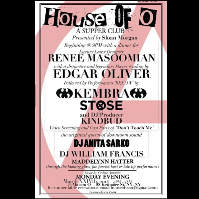 Tomorrow night let's hang out at #houseofo! #nycnightlife #dinnerparty #downtown #nyc