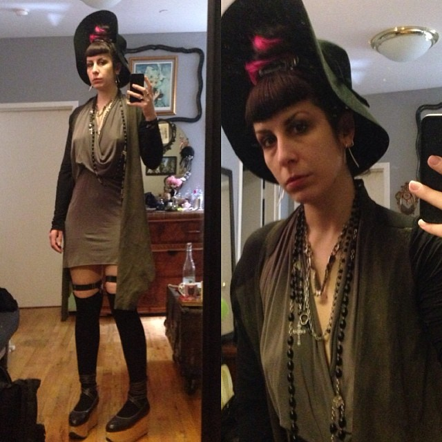 Off to brunch. #reneemasoomian #leathersweater, #rickowens dress, #viviennewestwood #rockinghorseshoes, and #jungletribe mandible necklace. #darkstyle #darkfashion #nycstyle #sockgarters