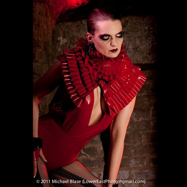 #JohannaConstantine in our #babyloveslatex #ruffle collar, ruffle #cape, and #bodysuit. #latex #latexfashion #latexmodel #fashionlatex #darkstyle #darkfashion #hautegoth #fashion #style #allred #ruffles #reneemasoomian.com