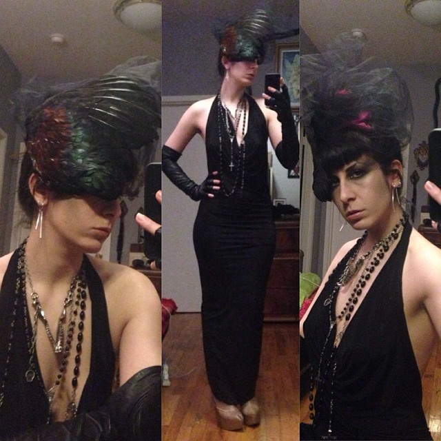 Somehow I look less evil then I normally do for tonight's @doriangraywednesdays fairy tale party. #reneemasoomian dress #darkstyle #darkfashion #birdwing #taxidermyfashion #feathers #wings #vintagegloves #nycfashion #nycnightlife #nycstyle