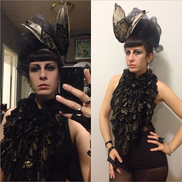 Running a little late to @doriangraywednesdays after a great photo shoot with @warren_archer. See you guys soon! Dressed in #reneemasoomian top and #birdwing hat. #darkfashion #darkstyle #hautegoth #nycstyle #nycnightlife #doriangraywednesdays