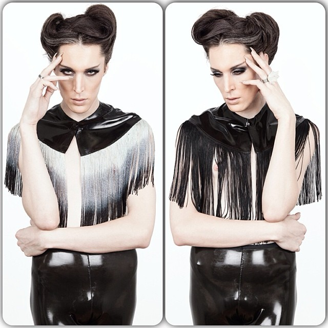 reneemasoomian: @thedylanmonroe in our #babyloveslatex fringe cape. #latexfashion #fashionlatex #latex #fringe