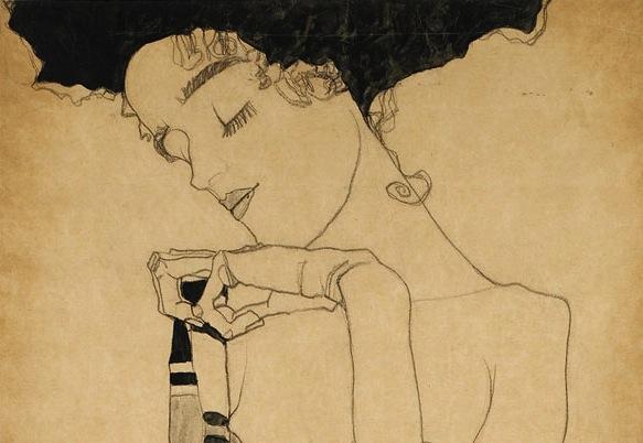 blue-voids :     Egon Schiele -  Gerti Schiele in a Plaid Garment,  1909 (detail)