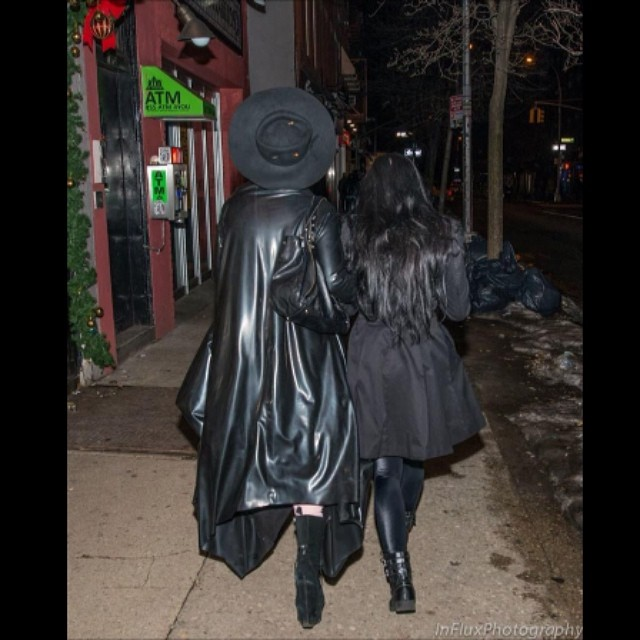 I love this picture of @tattooedvet and I walking down the street from a few nights ago. #nycfashion #nycstyle #darkstyle #darkfashion #nycnights #streetstyle #latex