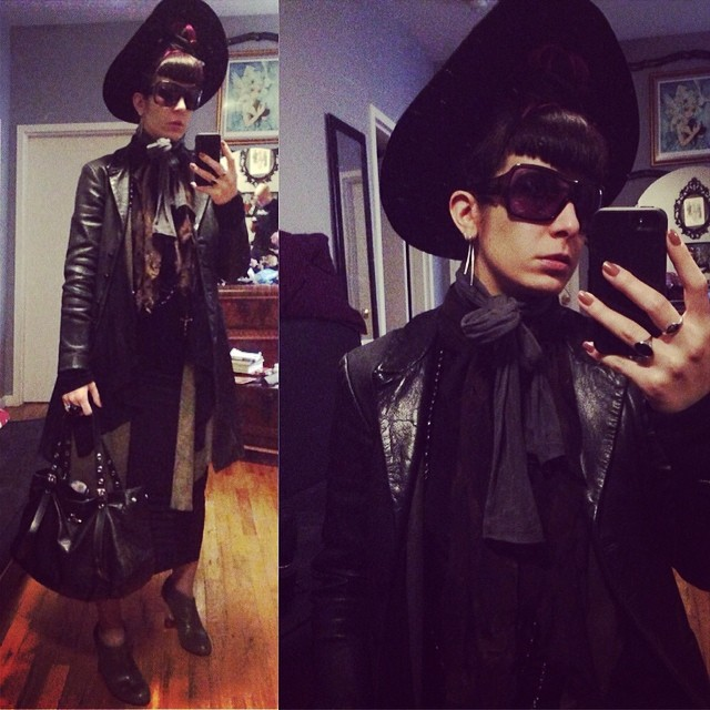 I might be loosing my voice but I'm still headed out to see @sophireaptress' fashion show. #alexandermcqueen sunglasses, #betseyjohnson #leatherjacket, #reneemasoomian #leathersweater and dress, #rickowens sweater, #unitednude heels, and #viviennewestwood purse. #darkstyle #darkfashion #witchy #nycstyle #nycfashion