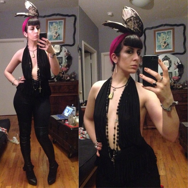 Off to go drink some champagne and to kick off my birthday. And I've finally get to wear this amazing #alexandermcqueen top that Johanna Constantine got me for Christmas! #reneemasoomian #birdwings hat, #leatherleggings, and #Christianlouboutin heels. #darkstyle #darkfashion #fashiongoth #nycnightlife #casualnightout